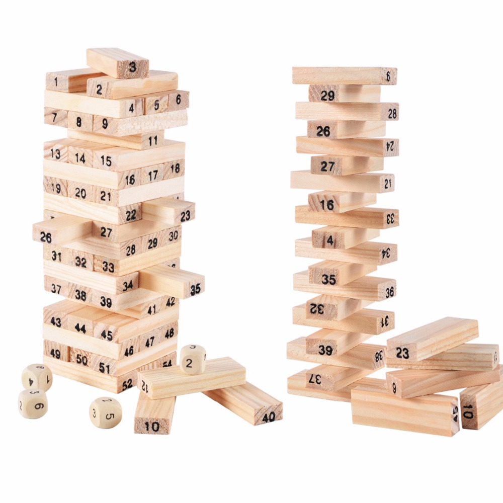 Wood Building Figure Blocks Domino 54pcs Stacker Extract Jenga Game Gift 4pcs Dice Kids Early Educational Wooden Toys Set 100 flag currency domino wooden building blocks early childhood educational toys authentic standard kids baby boy and girl gift