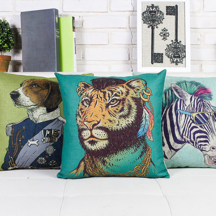 New European Palace Retro Boho Pillowcase Creative Painted Animal Cushion Decorative Pillow Home Decor Throw Pillow Sofa Cusions