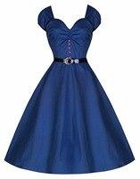 Dark Blue Women Knee Length Swing Rockabilly Women Summer Dress Short Sleeve Red Button Retro Pin