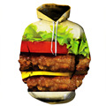 Novelty Design Hoodies Men Women Sweatshirt 3D Hamburger Printed Pullover Tracksuits Loose Hip Hop Steetwear Baseball Jacket