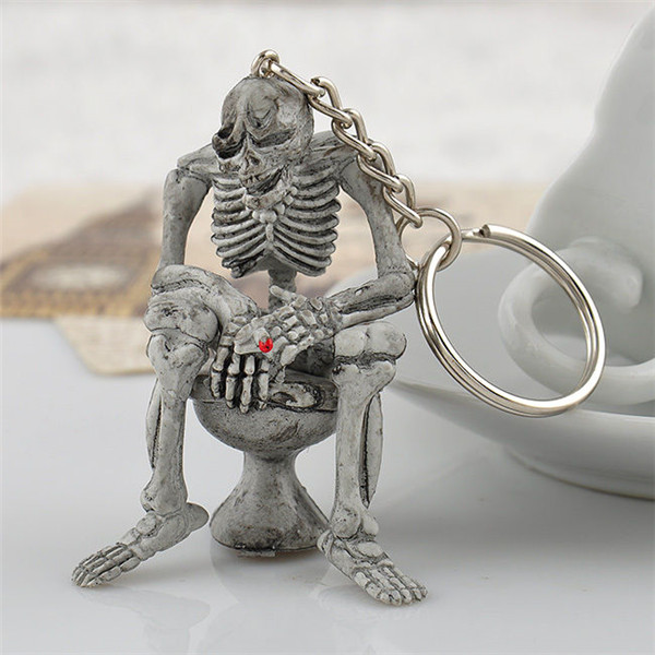 New LNRRABC Women Keychain Men Creative Chic Toilet Skeleton Skull Purse Bag Key Ring Jewelry Bag Charm Pendant Funny Gifts