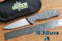 Зеленый шип S35vn лезвие F95 Флиппер 95 складной нож подшипник Титана углеродного волокна открытый отдых на природе охота карманный нож EDC инструмент