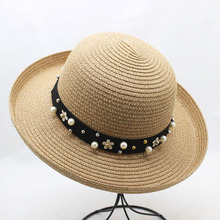 SUOGRY Summer Women Fashion Dome Straw hats for Sun Hat Outdoor Travel Fold Beach Girls Bow-Knot Panama
