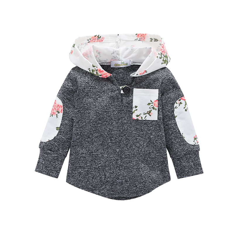 2018 Autumn Update Long Sleeve Girls Baby Clothing Hooded Fashion Long Sleeve Print Children's Plain Shirt Sweatshirt splatter paint dot print long sleeve shirt