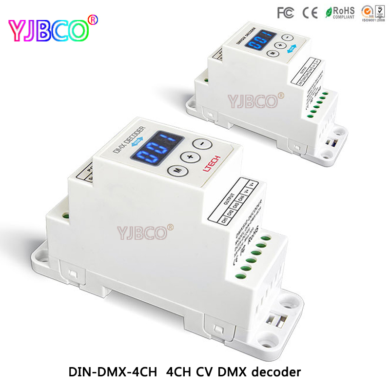 LTECH led comtroller DIN-DMX-4CH;4CH CV DMX Decoder;DC5-24V input;4A*4CH output for led light din dmx 4ch 4ch cv rdm dmx decoder dc5 24v input 4a 4ch output