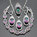 Women Silver Color Jewelry Sets Multicolor Rainbow White Crystal Necklace Pendant Bracelets Earrings Rings Free Gift Box