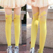 Women Cartoon Printed Pikachu Stockings Spring Autumn Sexy Tights Girls Kawaii Harajuku Pantyhose Ladies Tatoo Hot Sale