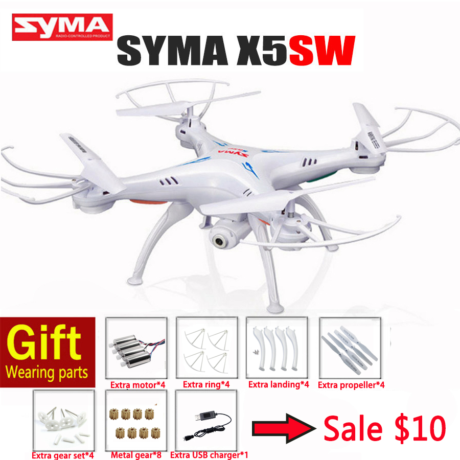 Syma X5SW RC Drone With Camera 2.4G 4CH Quadcopter Wifi FPV Remote Control Helicopter Toys Color Box Package Gift xbm 55 wifi fpv rc drone hd camera video remote control kids toys quadcopter helicopter aircraft air plane children gift toy