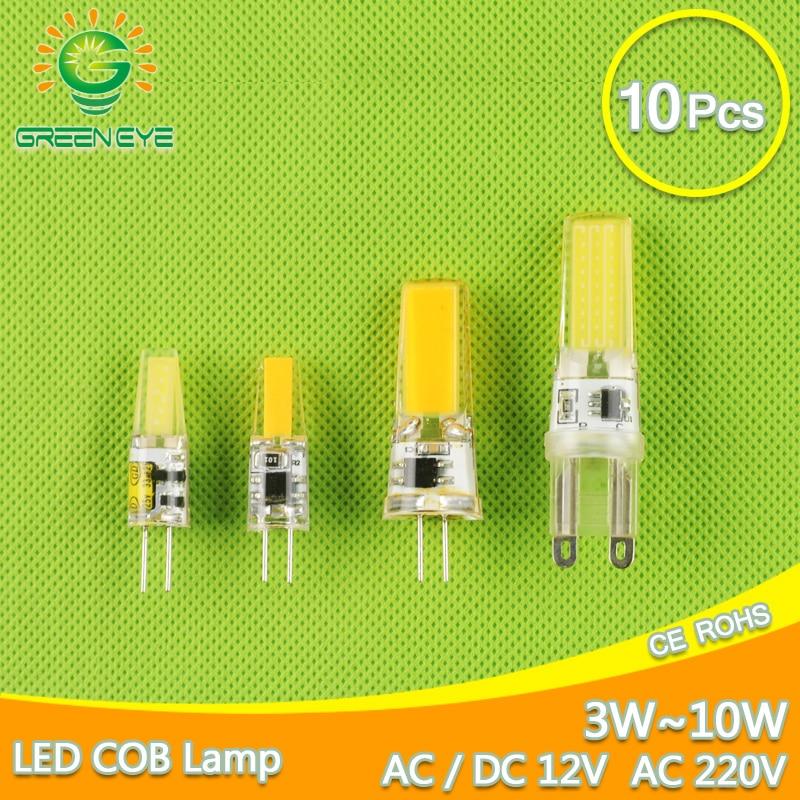 10pcs LED G4 Lamp Bulb AC DC 12V 220V Dimmable Cob Led G9 3W 6W 10w COB LED Lighting Replace Halogen Spotlight Chandelier