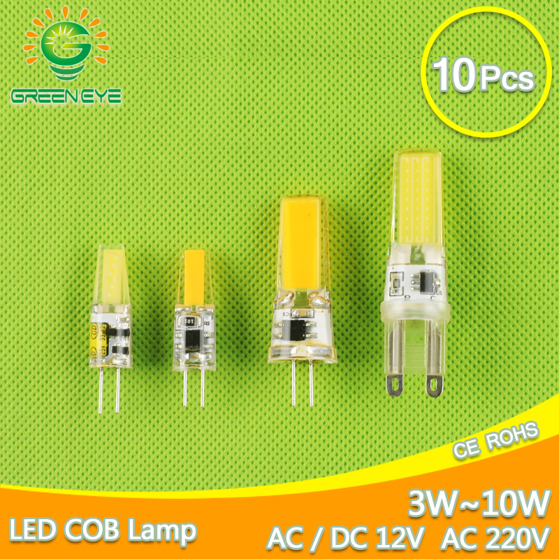 10pcs <font><b>LED</b></font> G4 Lamp Bulb AC DC <font><b>12V</b></font> 220V Dimmable cob <font><b>led</b></font> G9 3W 6W 10w COB <font><b>LED</b></font> Lighting replace Halogen Spotlight Chandelier image