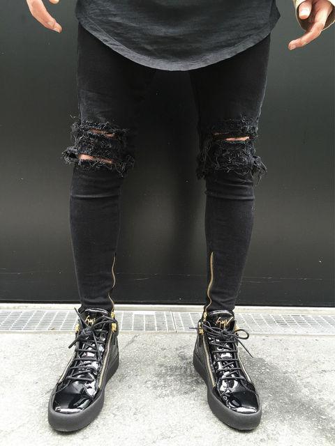 f0853f018b HIRIGIN 2017 New Black Ripped Jeans Men Holes Denim Super Skinny Famous  Designer Brand Slim Fit