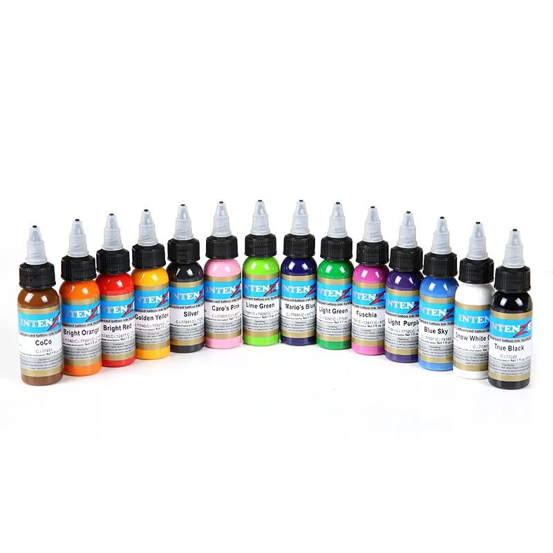 Permanent makeup pigment color tattoo ink kit 14 colors micropigment makeup bloodline tattoo pigment set 30ML wholesale high quality 30ml professional tattoo ink 14 colors set 1oz 30ml bottle tattoo pigment kit fashion makeup cosmetics