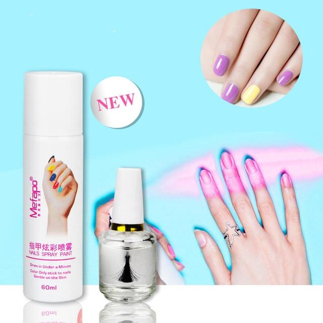2pcs Set Mefapo Brand 60ml Spray Nail Polish 15ml Base Coat Easy To Washing