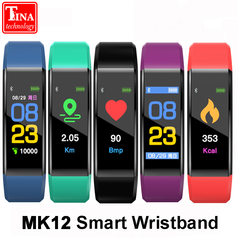 Original MK12 Wristband Heart Rate Monitor Fitness Tracker band Color Screen Sport Smart Bracelet for IOS Android VS ID115 PLUS