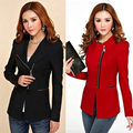 Candy Color Long Sleeve Women Zipper Blazer Suit Slim Casual Jacket Coat Outwear New Arrival