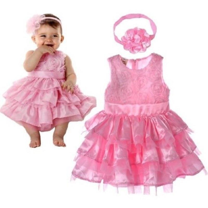 New Rose Garden Pink Rosette Silk Dress Easter Flower Baby Girl Wedding New +headband