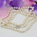 Fashion jewelry making 7-8mm natural white pearl beads necklace for women long chain high grade gift elegant jewels 36inch B3239