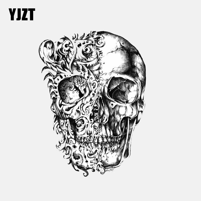 YJZT 9.7CM*13CM Car Styling Cool Skull Head Motorcycle Helmet Decal Car Sticker 6-2584