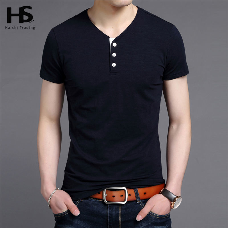 hs free shipping button v neck t shirt men 2016 summer new
