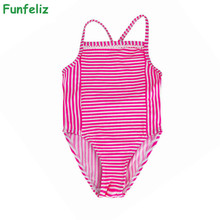 Funfeliz Pink Blue Striped Swimwear for Girls One Piece Baby Girls Swimsuit Cute Bathing Suit for Kids Swimming Suits 1-9 years цена