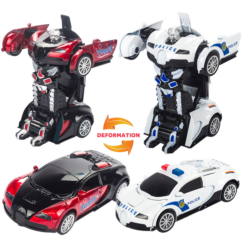 Novel Transformation Alloy Robot Car Metal Kids Action Figures Toy Lighting Deformation Robot Classic Toys for Children Gift 48pcs lot action figures toy stikeez sucker kids silicon toys minifigures capsule children gift