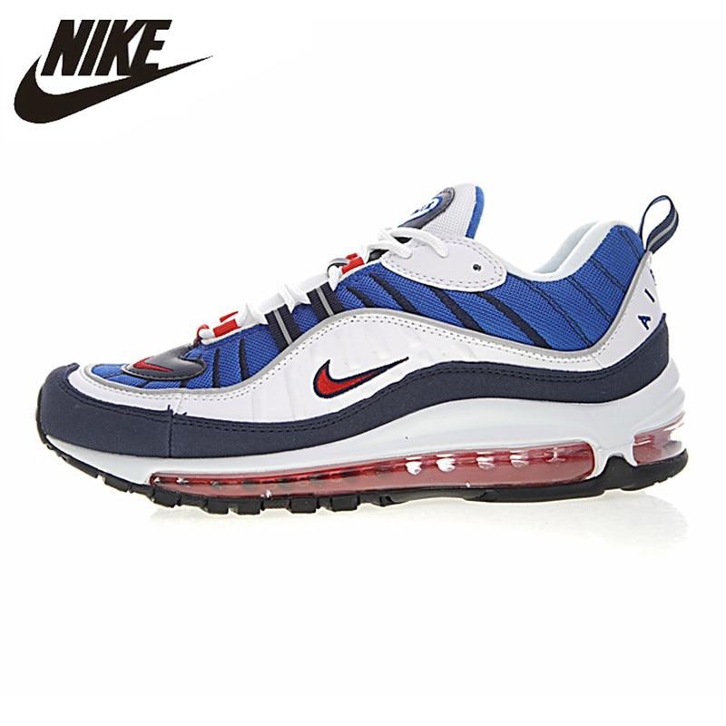 NIKE AIR MAX 98 Tour jaune chaussures de course homme, blanc & bleu, résistant à l'usure respirant Absorption des chocs antidérapant 640744 100