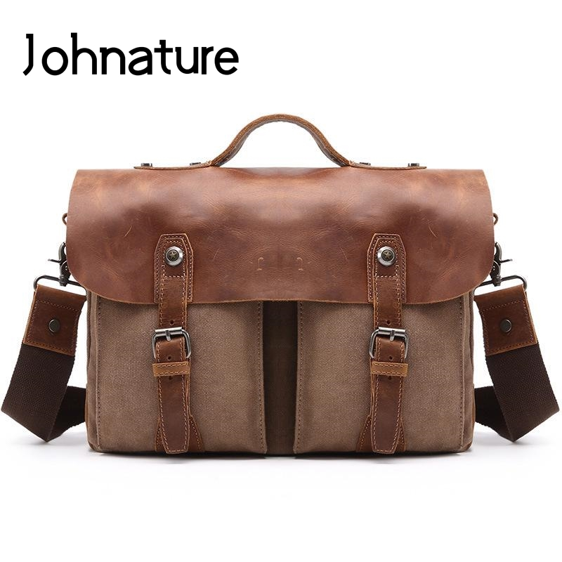 Johnature 2019 New Vintage Solid Canvas With Crazy Horse Leather Handbags Briefcase Men Computer Bags Shoulder&Crossbody Bags