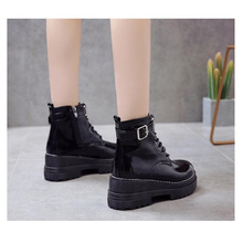 Women Ankle Boots  fashion new Lace up Cross-tie soft Punk Buckle Strap Chunky Heels Round Toe ankle buckle strap