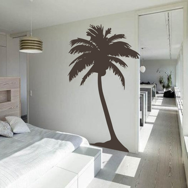 Free Shipping Large Palm Tree Wall Sticker , Living Room Tropical Wall Art  House Decoration Tall