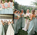 2016 Cheap Sage Green Chiffon Long Bridesmaid Dresses Mixed Style Custom Made Maid of Honor Gowns Outdoor Wedding Party Gowns