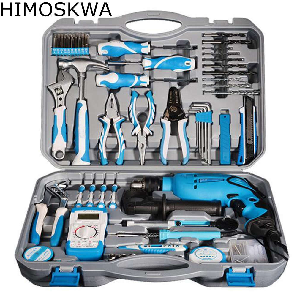 HIMOSKWA 107pcs Impact electric drill household electric combination set Multifunctional electric hardware tool combination 24pc 1 household multifunctional tool kit combined plastic tool box hardware combination tool set