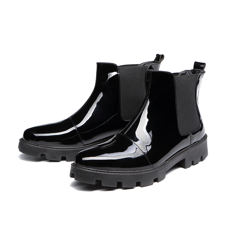 England style men fashion black bright surface patent leather shoes smooth shorts ankle chelsea boots zapatos