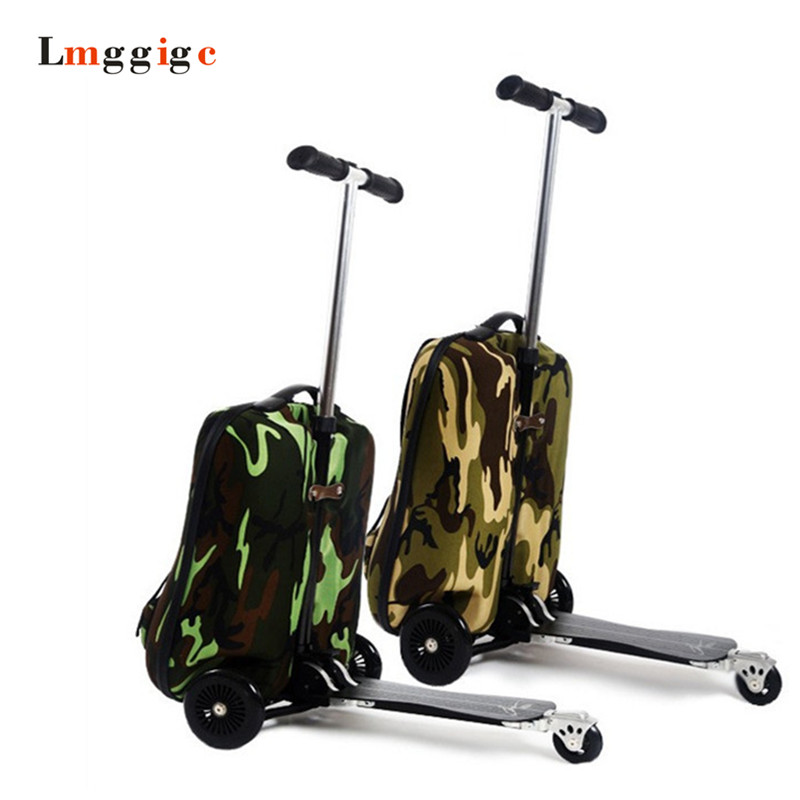 Luggage Travel bag with Scooter,18 inch Cabin Suitcase with Removable Rolling,ABC+PC backpack, Trolley Carry-Ons 3D box universal uheels trolley travel suitcase double shoulder backpack bag with rolling multilayer school bag commercial luggage