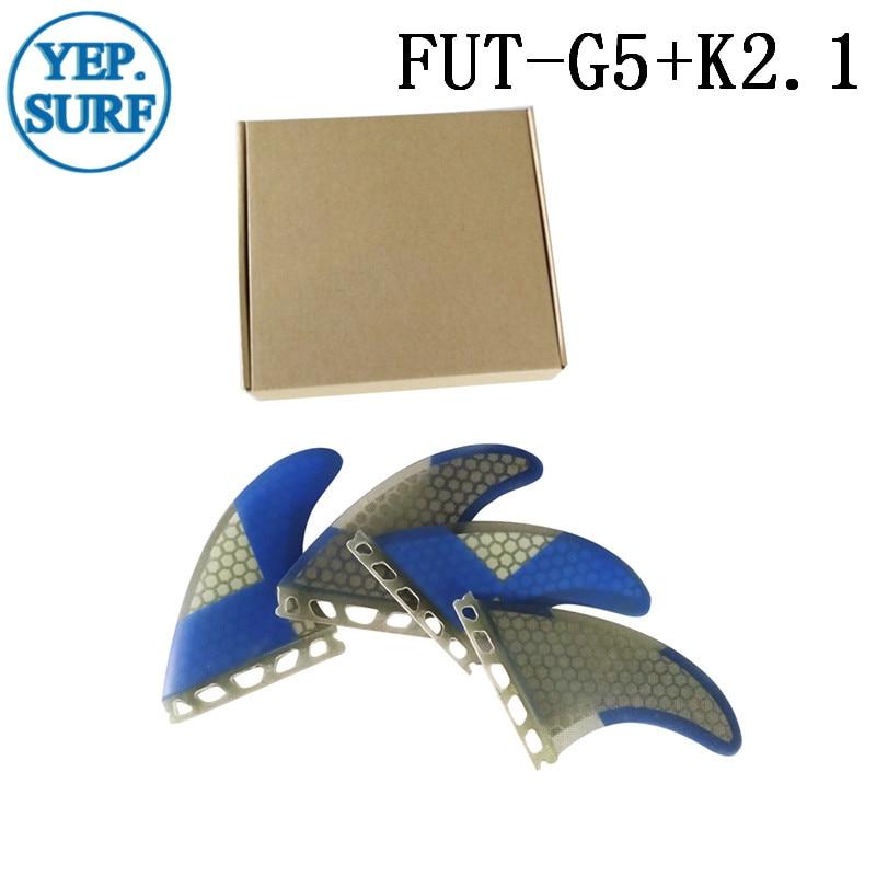 Surf Future G5 + K2.1 Fins Blue Honeycomb Surf Fins Framtida Fin Surfboard Fin Quilhas Gratis Frakt Paddle Board