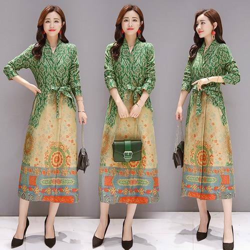 Chinese Style Spring Velvet Women's Windbreakers A line Print Long Wind Coat Belt Trench Coat For Women Casaco Feminino Outwear
