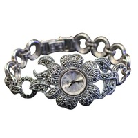 Hot Sale Women Flower Style Pave Marcasite 925 Sterling Silver Wrist Watches eal Silver Bracelet Watches Real Silver Bangle