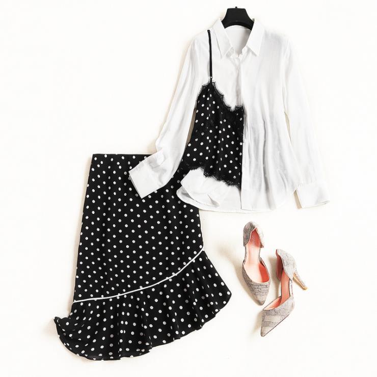 Dentelle Mode Manches Nouveau Costume De 2019 Poisson Style D'impression En Patchwork Longues À Européen Femmes Américain Printemps Et Queue Jupe Chemise Point txvw10qAO