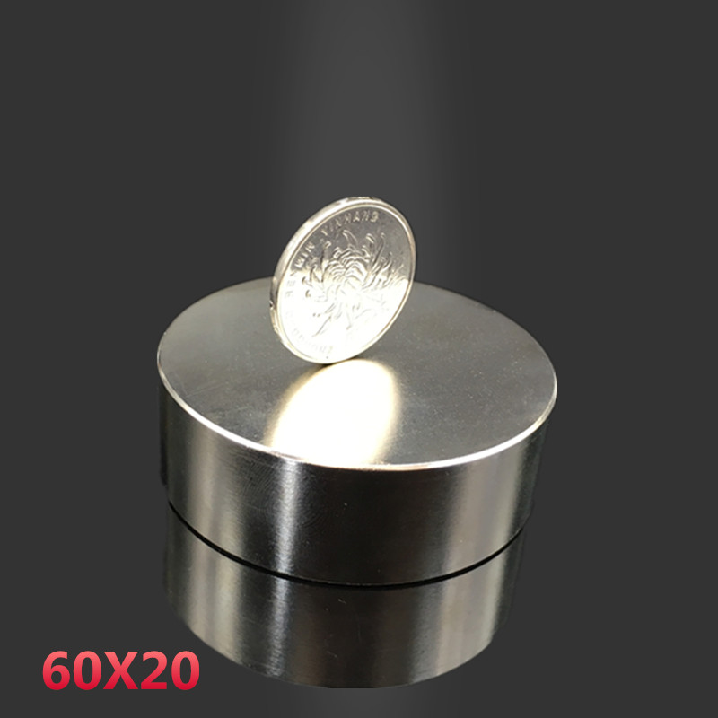 1pcs Neodymium magnet 60x20 mm gallium metal hot super strong round magnets 60*20  Neodimio magnet powerful permanent magnets 2pcs neodymium magnet 50x30 mm gallium metal super strong magnets 50 30 round neodimio magnet magnetic for water meters