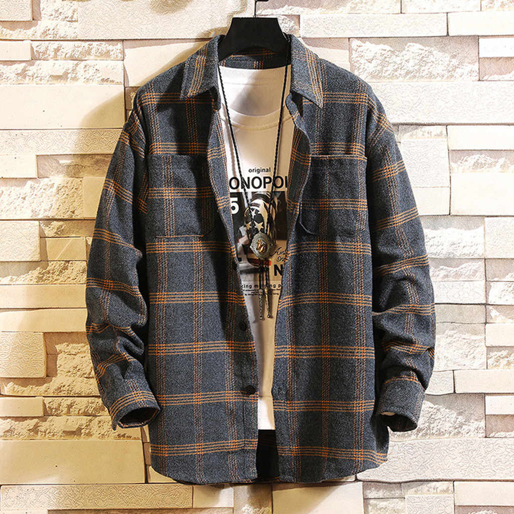 Casual Men Shirt Long Sleeve Autumn Winter Plaid flannel Shirts Mens of Women Vintage Japanese Streetwear Pocket Camisas Shirt