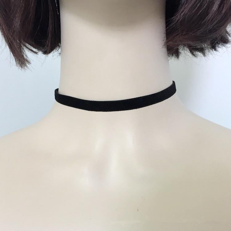 Женское бархатное ожерелье-чокер, массивное черное бархатное ожерелье в стиле панк