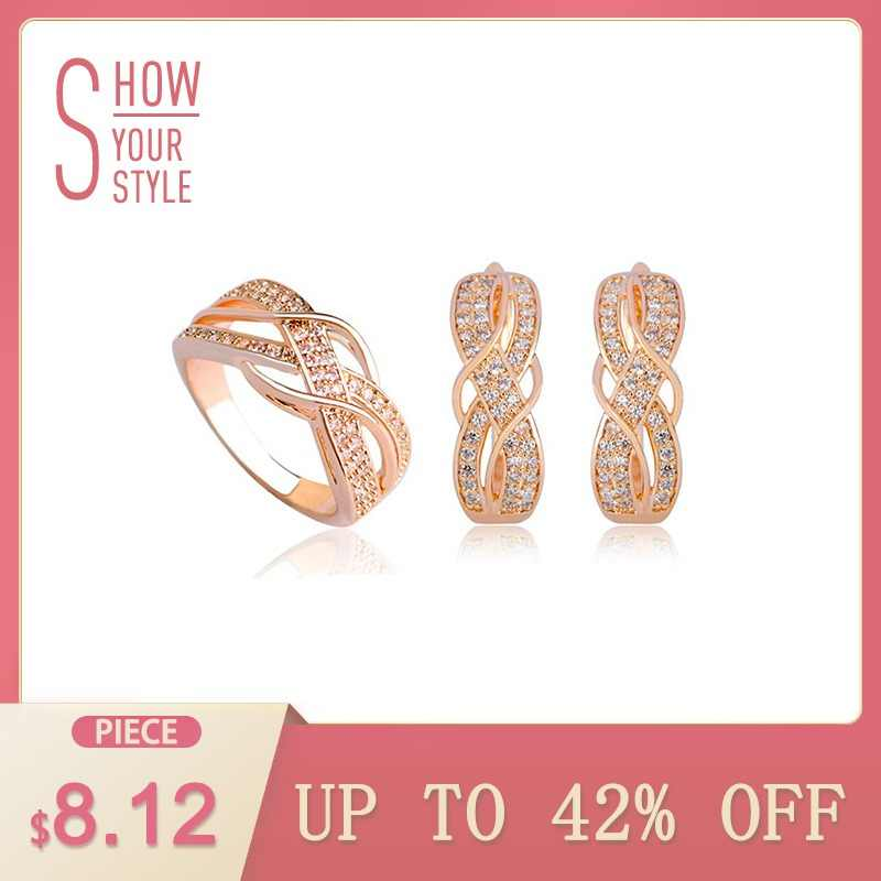 MECHOSEN Shiny Zirconia Stones Earrings Rings Sets Joias Ouro Anel Aros  Soft Copper Brincos African Brides de666a8e0913