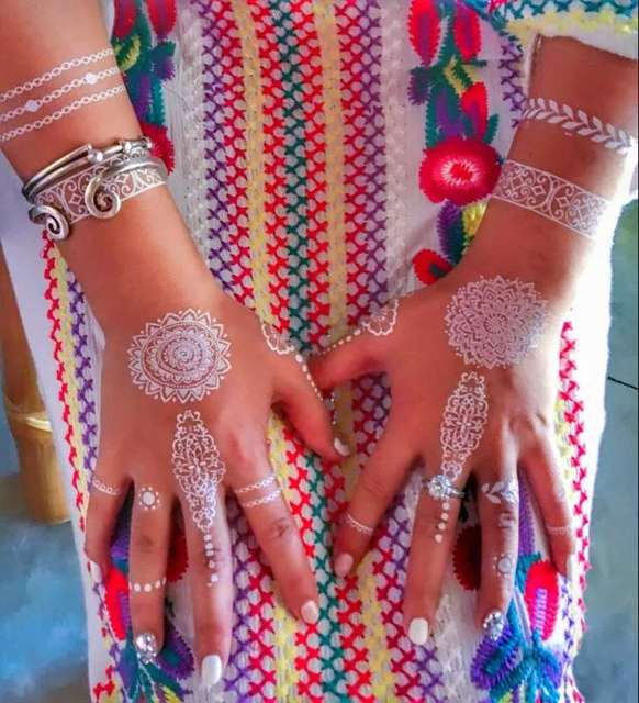 Sexy Body Art Beauty Makeup Cute Cool Beautiful White Henna& Lace Waterproof Temporary Tattoo Stickers For Girl Bride019-027