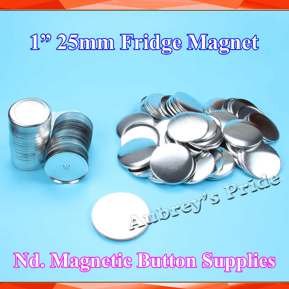 "1 ""25mm 100 Sets BARU Profesional Kulkas Dialog Box Nd. Magnet Logam Kembali Button Maker Bahan Pasokan"