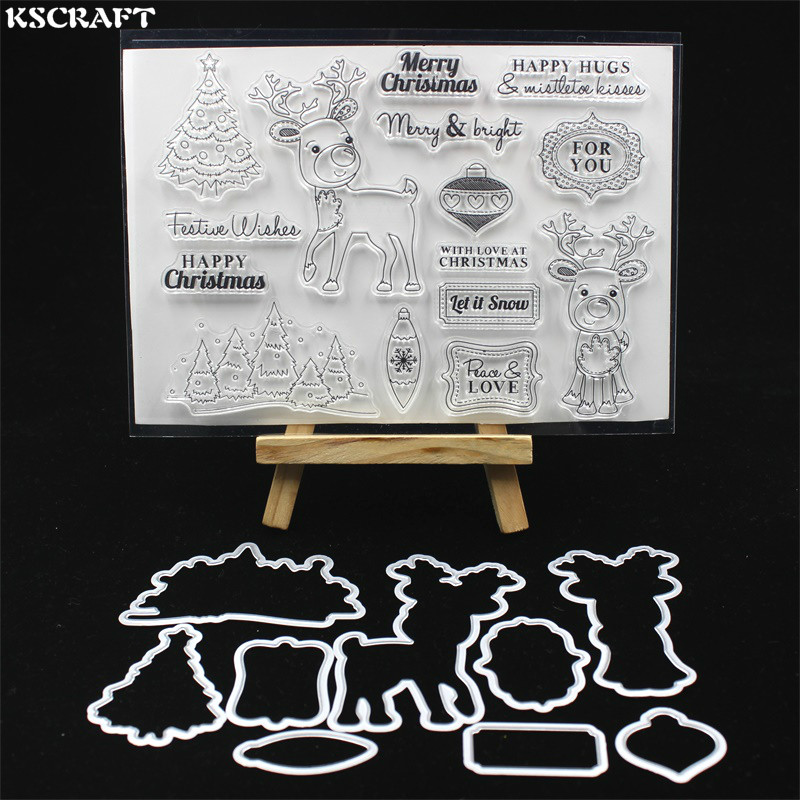 KSCRAFT Christmas Deer Transparent Clear Silicone Stamp Cutting Dies Set for DIY scrapbooking/photo album Decorative lovely animals and ballon design transparent clear silicone stamp for diy scrapbooking photo album clear stamp cl 278