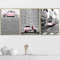 Street Pink Bus Moped Car Nordic Posters And Prints Wall Art Canvas Painting Vintage Poster Wall Pictures For Living Room Decor