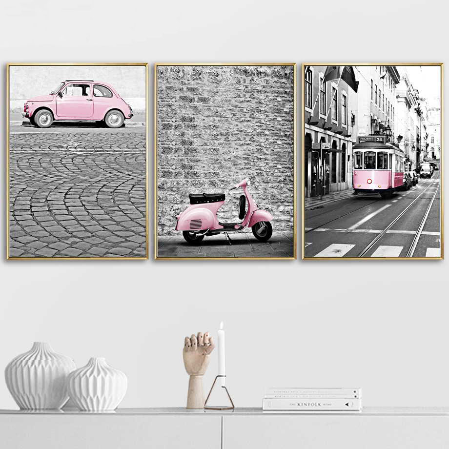 Street Pink Bus Moped Car Nordic Posters And Prints Wall Art Canvas Painting Vintage Poster Wall Pictures For Living Room Decor|Painting & Calligraphy|   - AliExpress