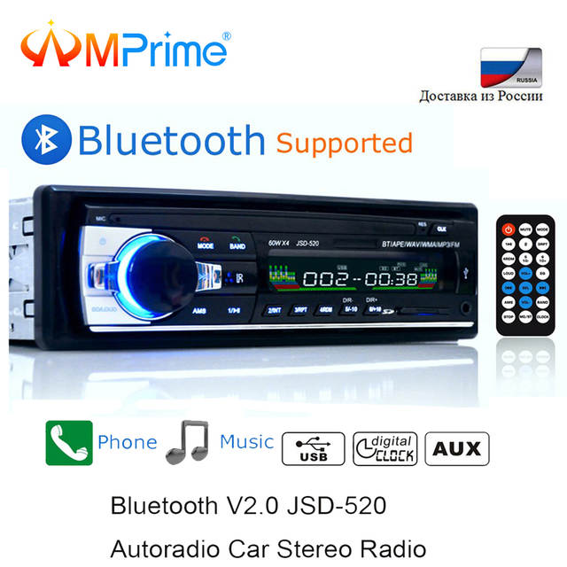 US $13 99 30% OFF|AMPrime Bluetooth Autoradio Car Stereo Radio FM Aux Input  Receiver SD USB JSD 520 12V In dash 1 din Car MP3 Multimedia Player-in Car