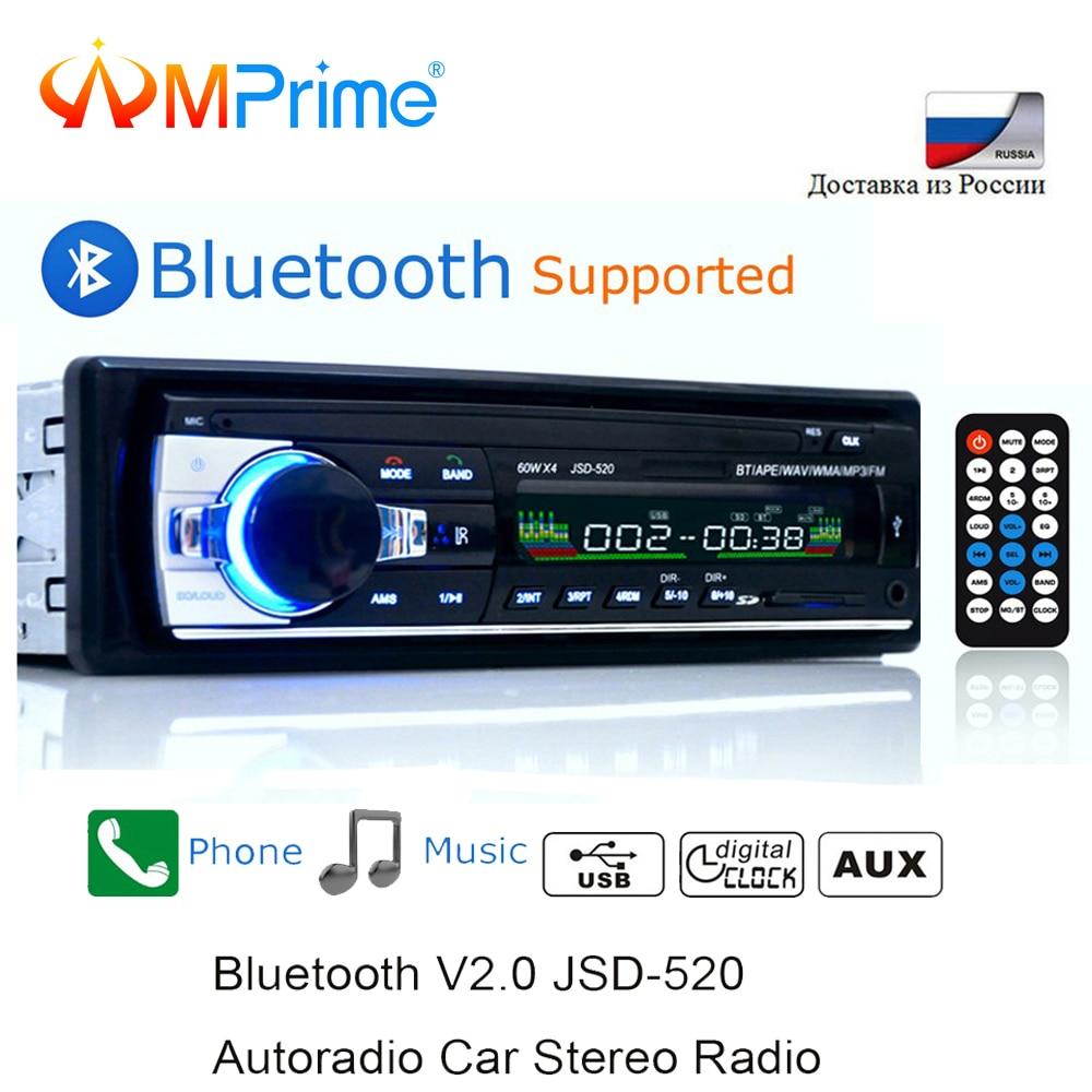 AMPrime Bluetooth Autoradio Rádio Estéreo Do Carro FM Receptor USB SD Entrada Aux JSD-520 1 12V In-dash din carro MP3 Multimedia Player