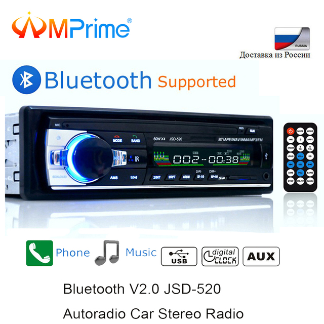 AMPrime Bluetooth Autoradio Rádio Estéreo Do Carro FM Receptor USB SD Entrada Aux JSD-520 1 12 V In-dash din carro MP3 Multimedia Player