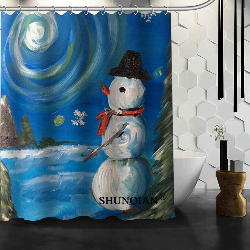 Snowman Painting 06 Shower Curtain Christmas Decorations For Home ...